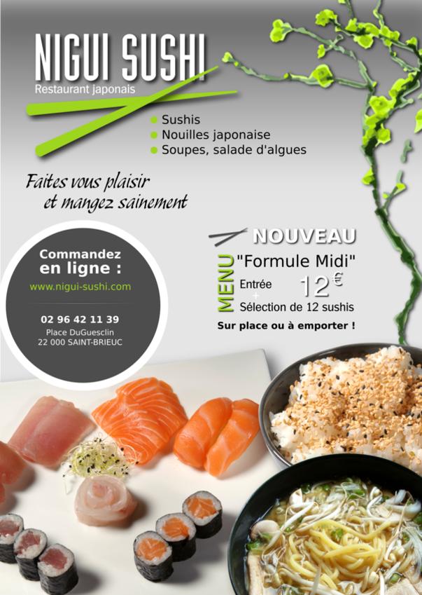 flyer pour le restaurant japonais nigui sushi